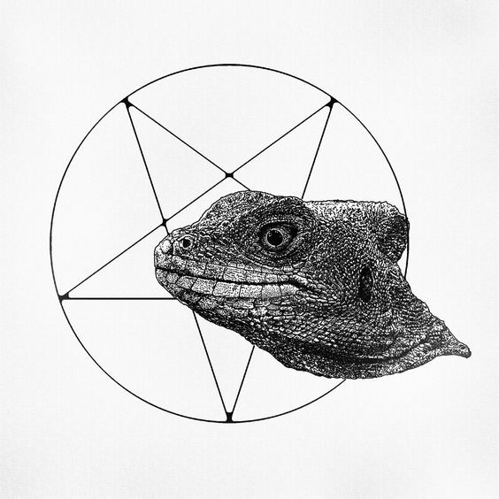 Realistic grey-ink lizard head on sacred sign background tattoo design