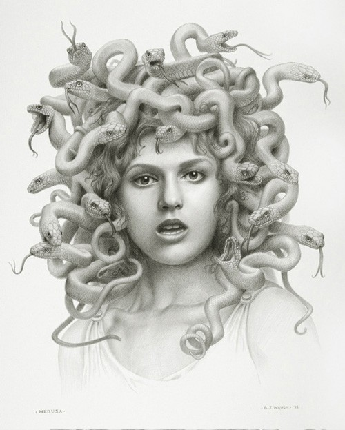 Realistic grey-ink medusa gorgona portrait tattoo design