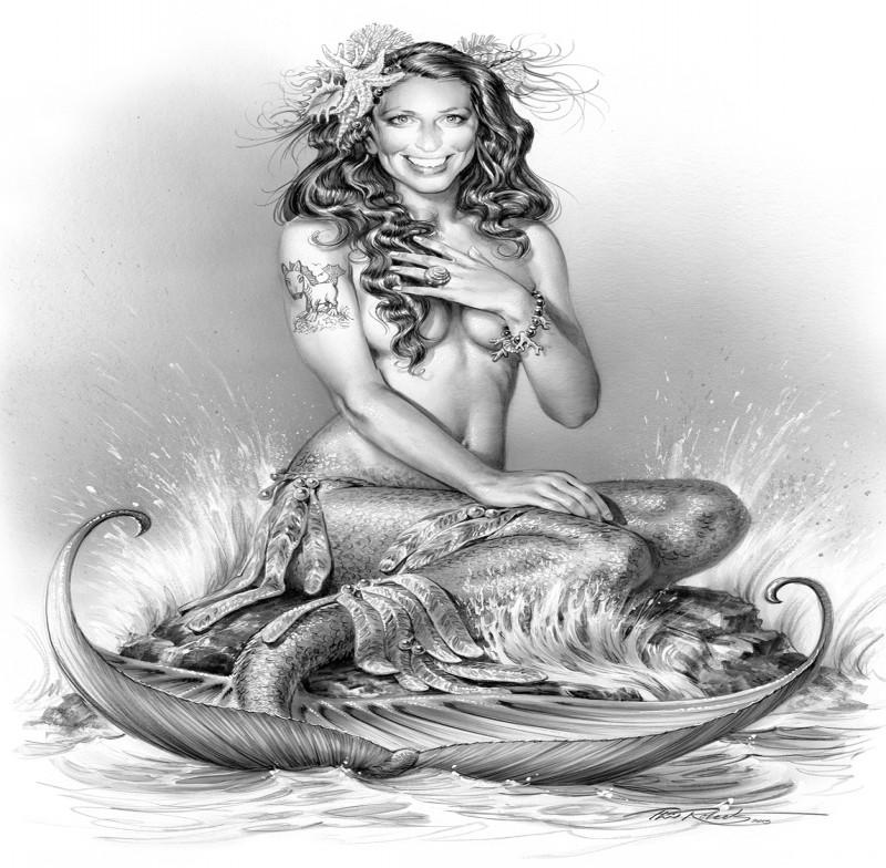 Realistic grey-ink smiling mermaid sitting on wet rock tattoo design
