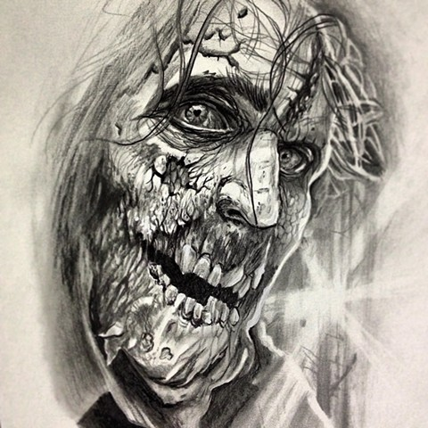 Realistic grey-ink zombie man portrait tattoo design