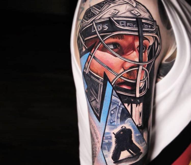 Tatuaggio del giocatore di hockey realistico di dave paulo
