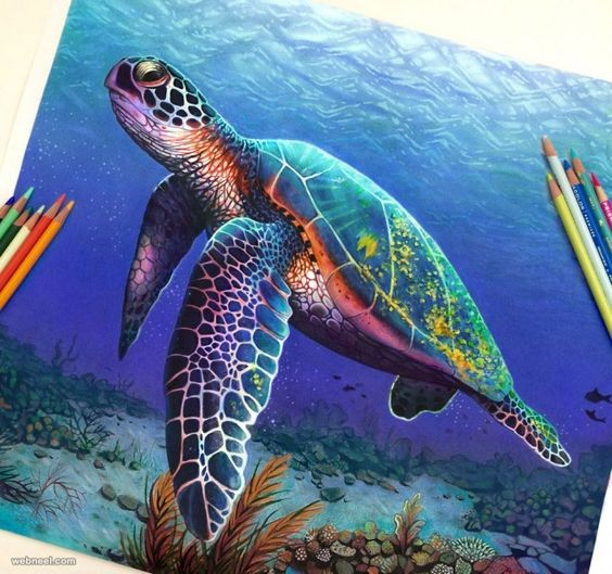 Realistic multicolor turtle diving on ocean bottom tattoo design