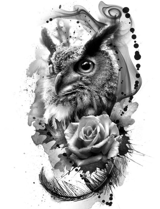 Realistic owl and a white rose on black spots background tattoo design