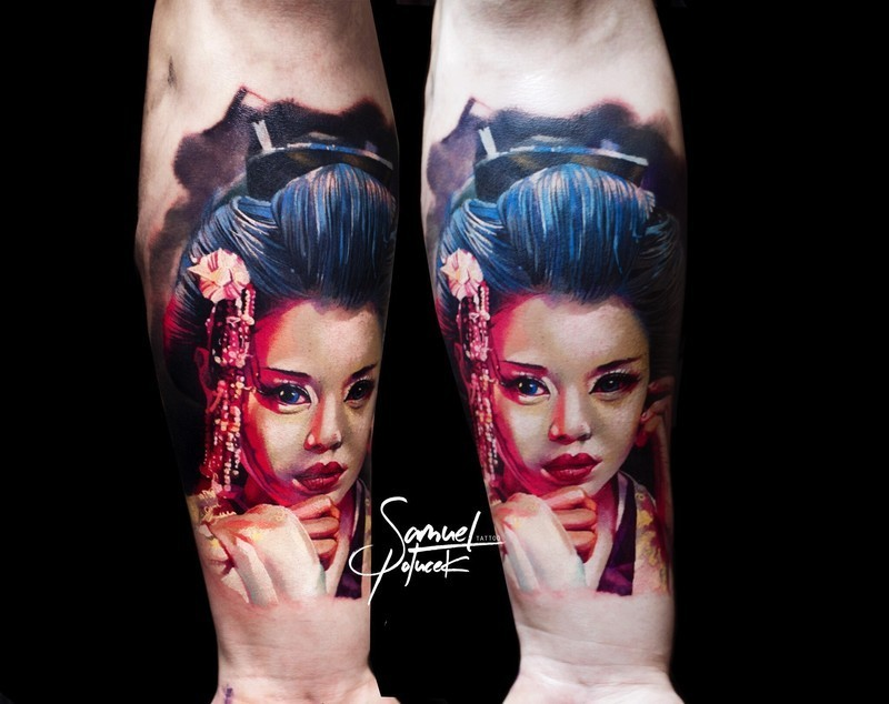Realistic painted colorful forearm tattoo of Asian woman portrait