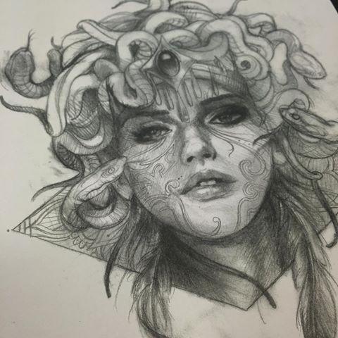 Realistic pencilwork medusa gorgona portrait tattoo design