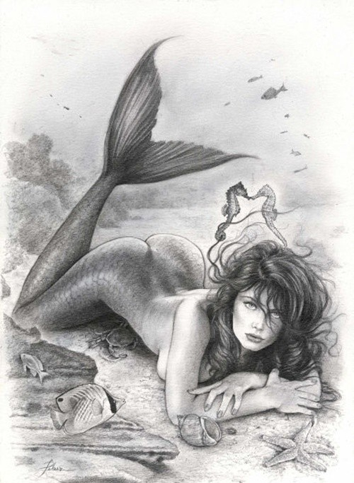 Realistic pencilwork mermaid lying on belly tattoo design