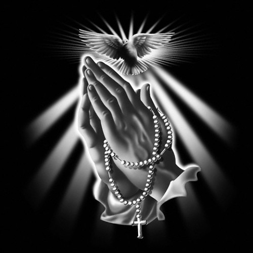 Realistic praying hands and dove on ray background tattoo design