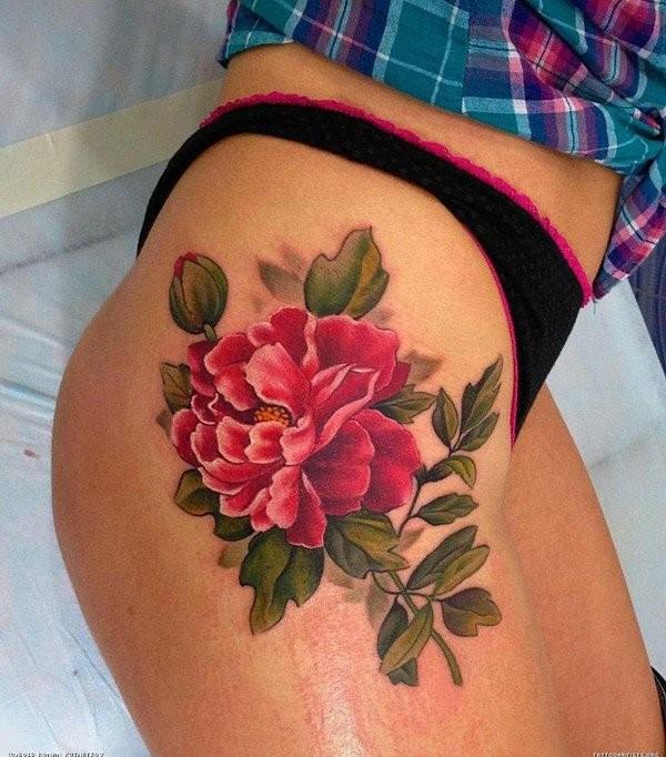 realistico fiore peonia tatuaggio su fianco