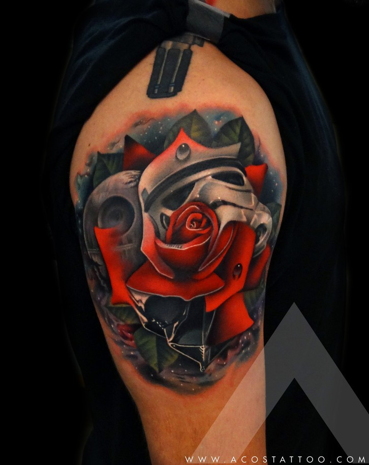 Realistic rose in star wars theme tattoo on shoulder