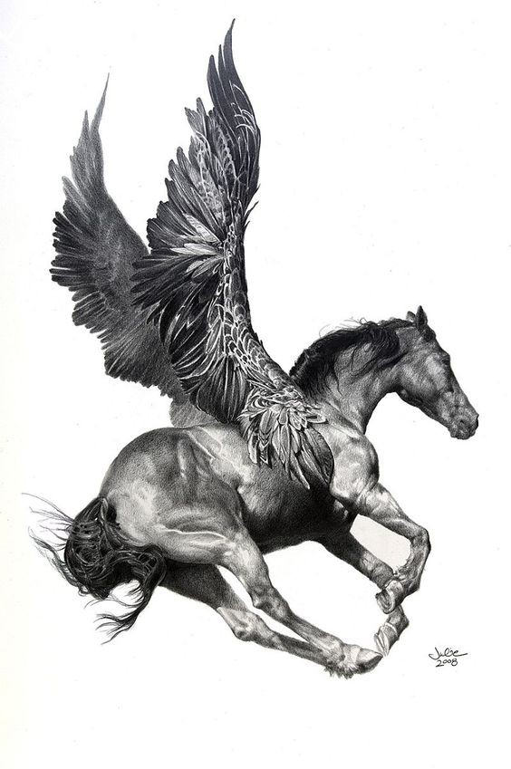 Realistic running pegasus with huge feathered wings tattoo design