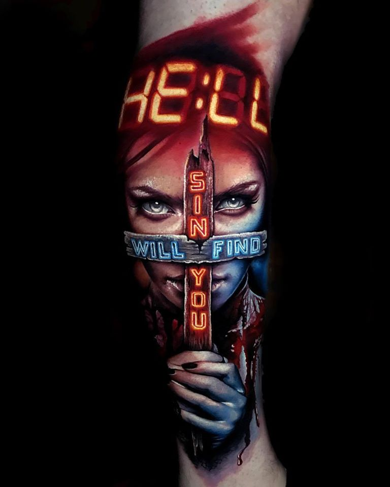 Realistic tattoo with Sin Will Find You lettering