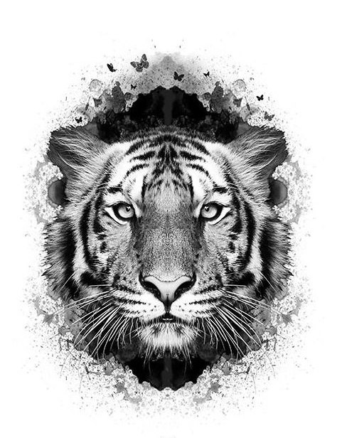 Tiger Head Tattoo Black And White | www.imgkid.com - The ...