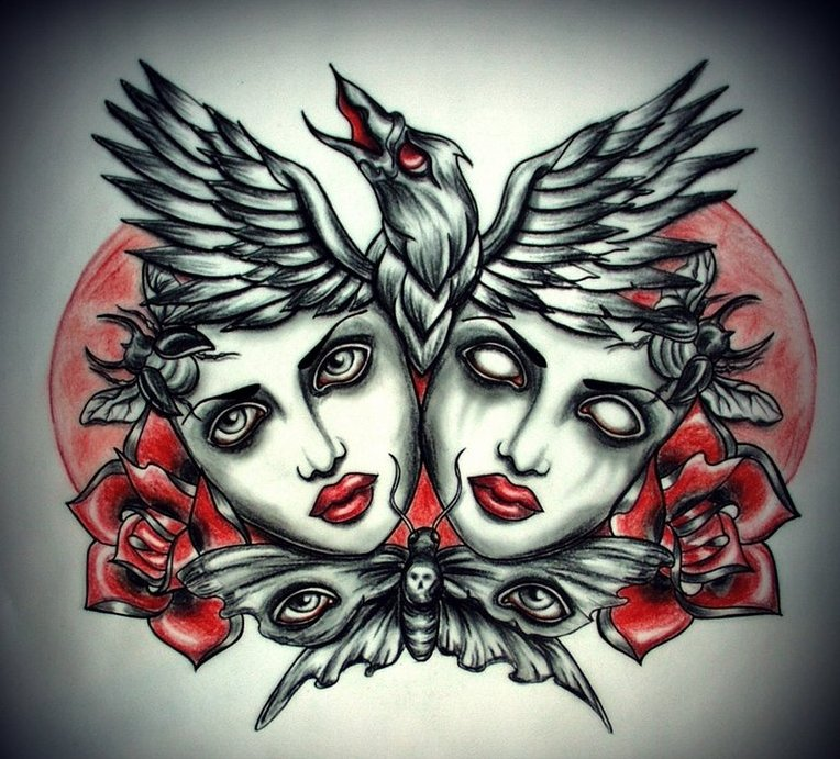 Red-and-black dead heads with raven and butterfly tattoo design by Old Skull Love by MW