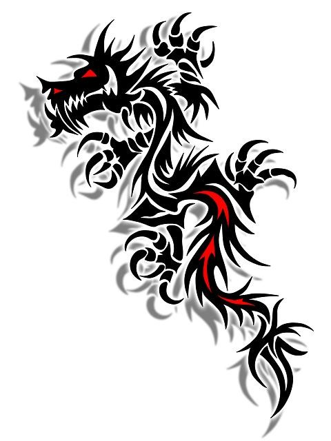 red and black tribal dragon tattoo design. Black Bedroom Furniture Sets. Home Design Ideas