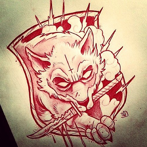 Red-color wolf with a dagger in teeth looking from the coat of arms tattoo design
