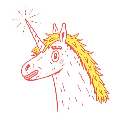 Red-contour unicorn with yellow mane and shining horn tattoo design