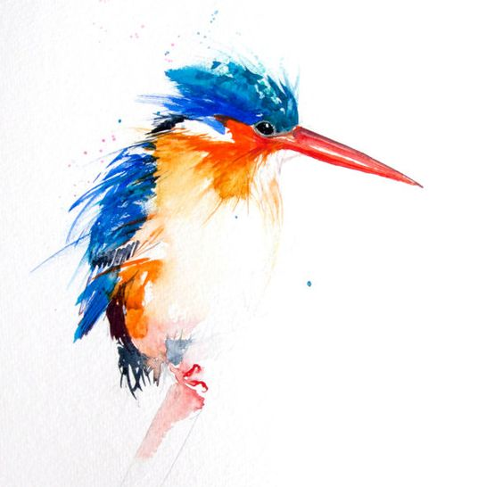 Red-eak blue-and orange hummingbird with watercolor effect tattoo design