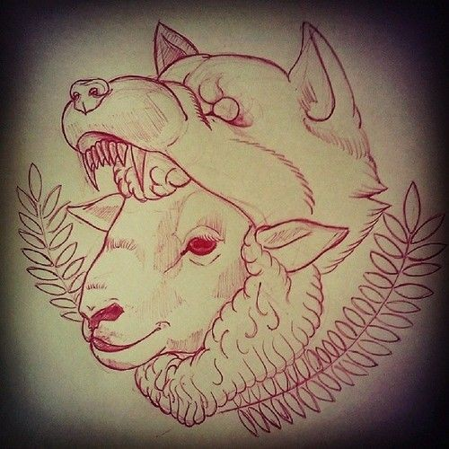 Red-ink outline wolf eating smiling sheep tattoo design