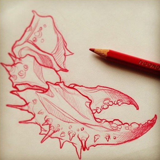 Red-ink pencil work crab claw tattoo design