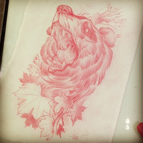 Red-ink roaring grizzly bear and maple leaves tattoo design