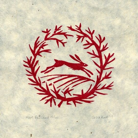 Red-ink rushing hare in leafless branch frame tattoo design