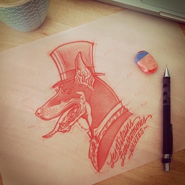 Red-ink sir doberman in high hat and suit tattoo design