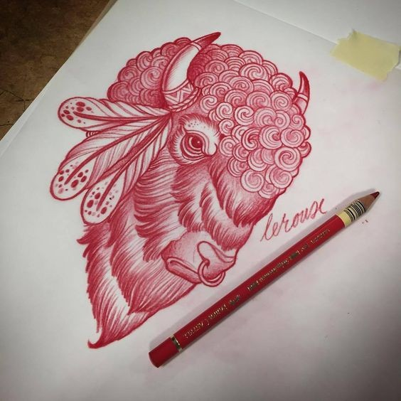 Red-pencil curled bull head with feathers tattoo design