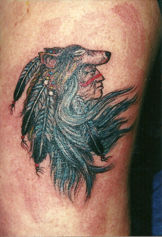 Red Indian and wolfs head