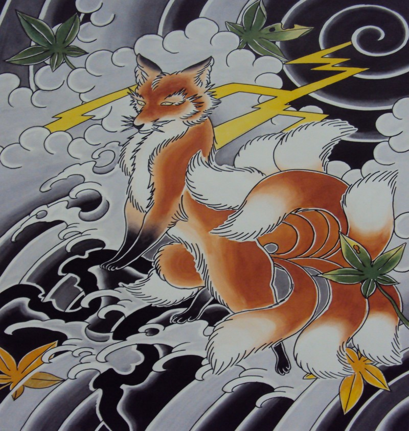 Red chinese fox standing on cloudy sky background tattoo design