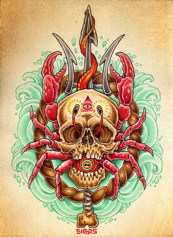 Red crab inside the skull on detailed background tattoo design