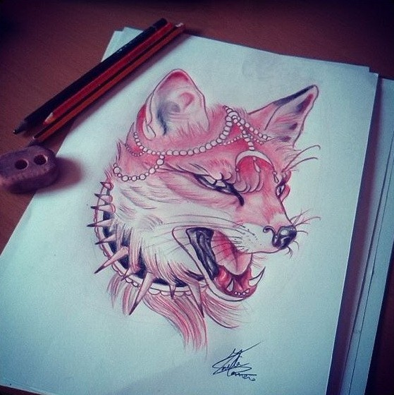 Red crying fox with bead decorations tattoo design