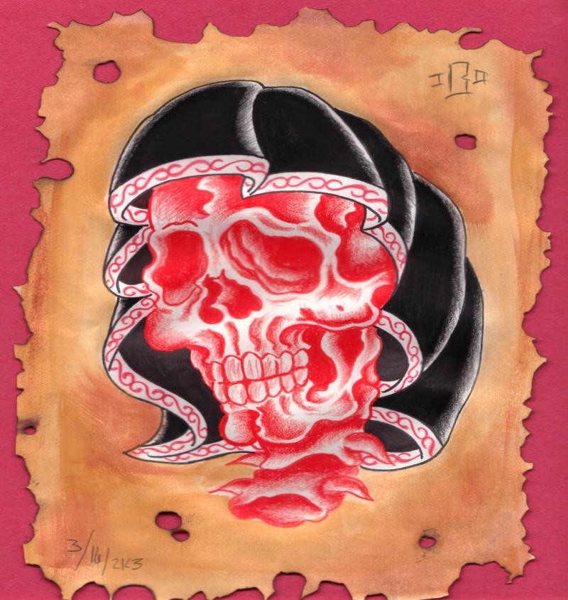 Red death skull in black hood tattoo design