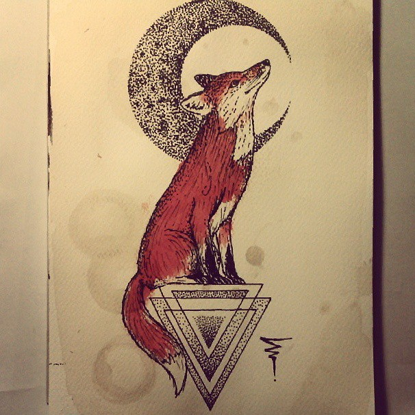 Red dotwork fox sitting on triangle and thin moon tattoo design