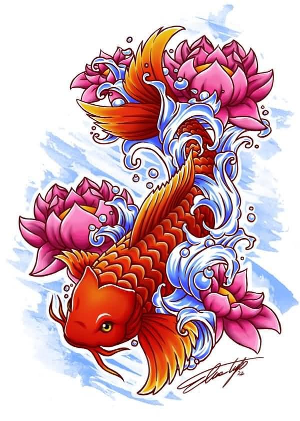 Red Koi Fish And Pink Lotus Flowers Tattoo Design Tattooimagesbiz
