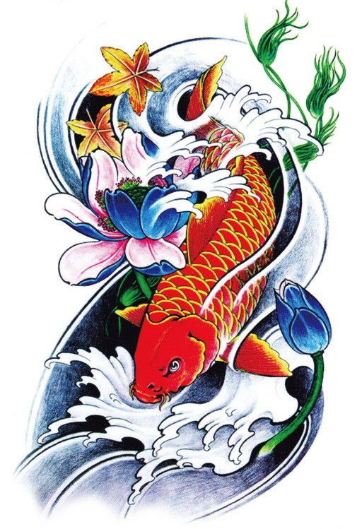 Red koi fish with blue flowers and maple leaves tattoo design