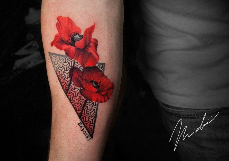 Red poppy flower tattoo