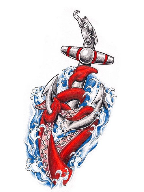 Red water animal tentacles keeping iron anchor tattoo design