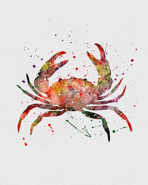 Red watercolor crab with yellow shadows in splashes tattoo design