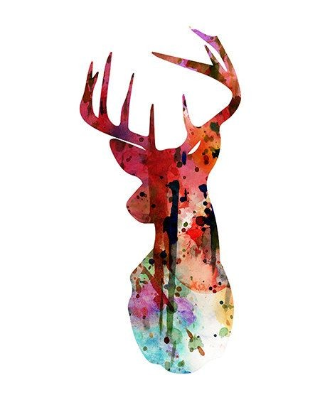 Red watercolor deer silhouette in drops tattoo design
