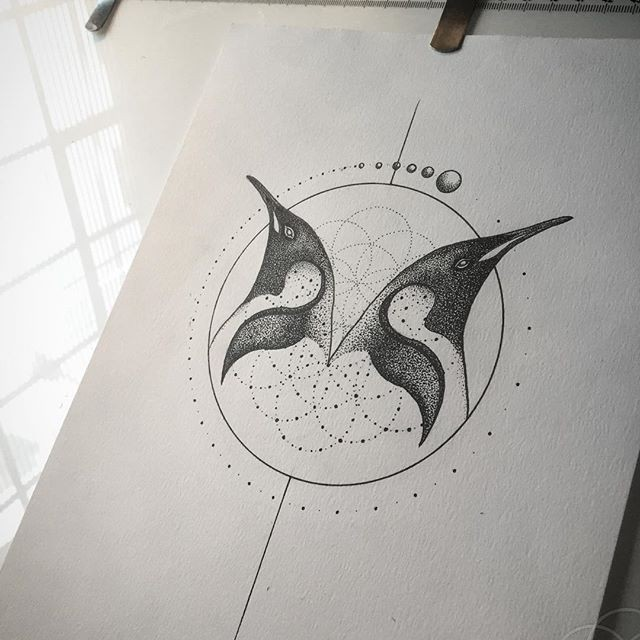 Reflected penguin head and geometric drawings tattoo design