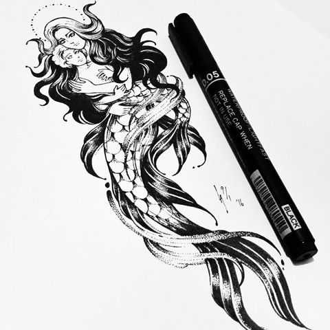 Religious black-ink mermaid with a nimbus keeping a baby in hands tattoo design