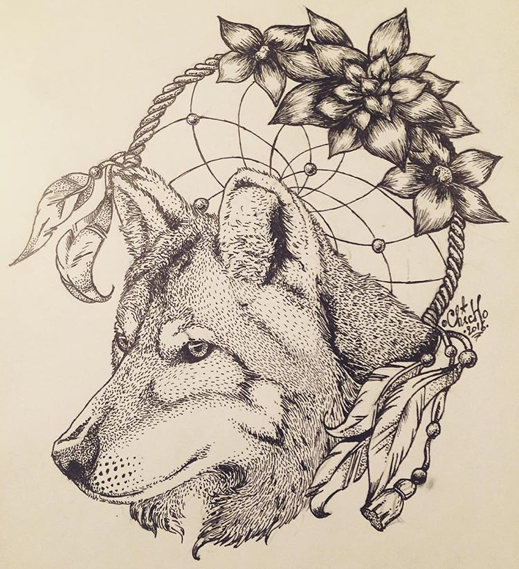 Remarkable grey wolf and indian dream catcher tattoo design