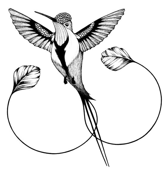 Rising grey-ink hummingbird with curled tail tattoo design