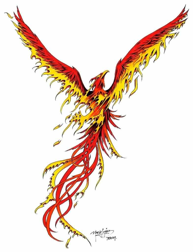 Colorful phoenix tattoo designs - Rising Phoenix In Red And Yellow Colors Tattoo Design