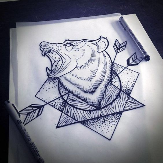 Roaring bear head pierced with arrows on dotwork geomatric figures tattoo design