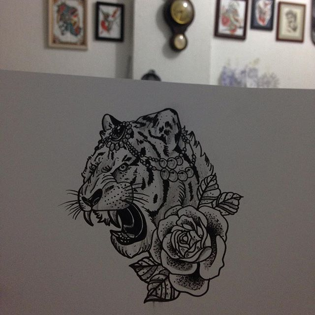 Roaring Decorated Tiger Head With Rose Flower Tattoo