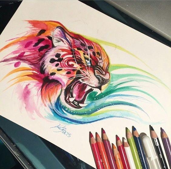 Roaring leopard head in colorful swirls tattoo design