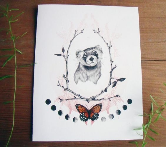 Rodent portrait in branch frame with butterfly and moon phases tattoo design