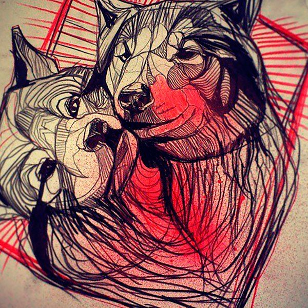 Romantic black-and-red wolf couple tattoo design