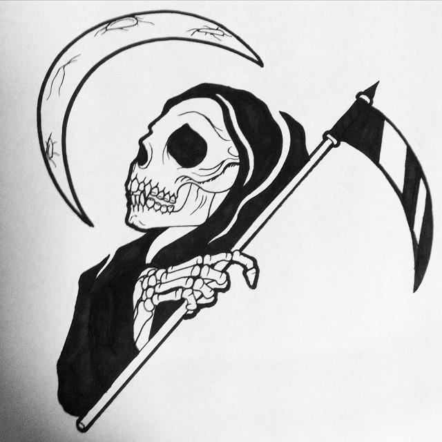 Romantic black-ink death looking on half moon tattoo design